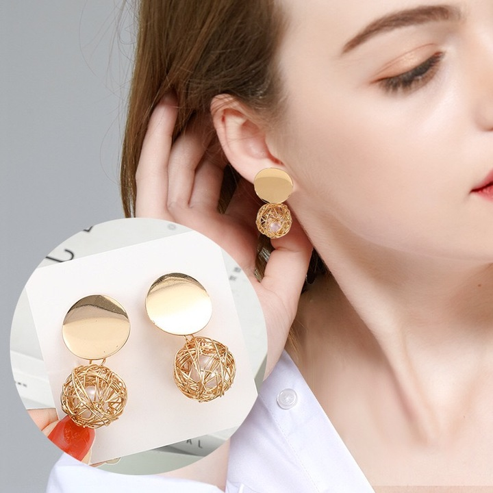 Floriane New Woman Western Style Hot Sale Retro Geometric Woven Metal Ball Pearl Earring H033 golden one size