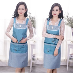 Floriane New Kitchen Strap Sleeveless Elegant Flower Pattern Multi-Function Big Pocket Apron H034 green 80cm*70cm
