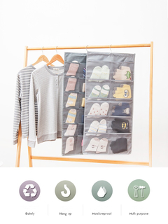 Floriane New High-Grade Durable Multi-Function Dustproof Multi-Pocket Hanging Storage Bags H037 gray