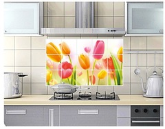 Floriane New Kitchen Oil Proof High Temperature Resistant Aluminum Tulip  Wall Sticker H042 tulip 45*75cm