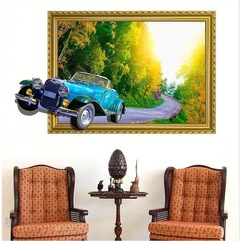 Floriane New 3D Living Room Sofa Decorations Country Classic bubble Car Wall Sticker H044 car 60×90cm