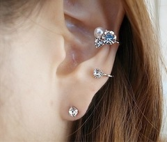 Floriane New Woman Stylish Unilateral Shining Diamond Pearl Studs Earring Set I002 normal one size
