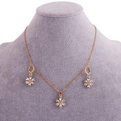 Floriane New Woman Fashion Graceful Water Drop Shape Crystal Flower Golden Earring Set I003 golden see information below