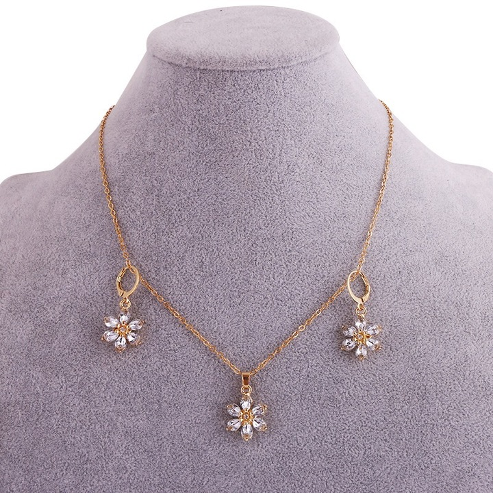 Floriane New Woman Fashion Graceful Water Drop Shape Crystal Flower Golden Earring Set I003 golden see information below