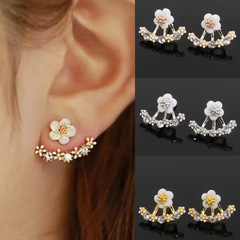 Floriane New Small Flower After Hanging Ear Nails Diamond Earring I009 rose golden one size