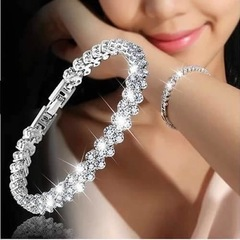 Floriane New Style Delicate And Elegant Roman Crystal Full Diamond Two Color Bracelet I010 silivery see information below