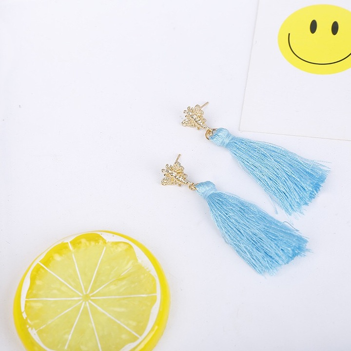 """Floriane """"Youth Beauty Girl Series"""" Long Tessel Temperament Grace Simple Two Color Earring I014 blue 5.2cm"""