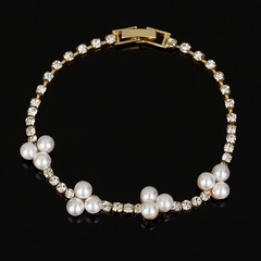 Floriane Beautiful Simple Nature Pearl Shining Crystal Lovely Girl Bracelet I021 silivery one size