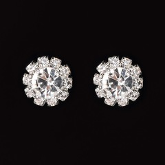 Floriane Woman 2 Pcs Dazzling Crystal Celebrity Dinner Party Temperament Earring I026 white one size