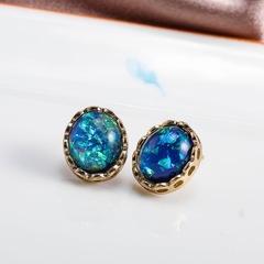 Floriane New Woman Exquisite  Malachite Diamond-Set Earring I036 blue one size