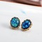 Floriane New Woman Exquisite  Malachite Diamond-Set Earring I036 blue one size