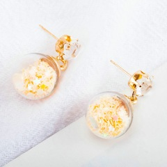 """Floriane """"Youth Beauty Girl Series"""" Shining Five Star Creative Ball Stud Yellow Color Earring I039 faint yellow one size"""