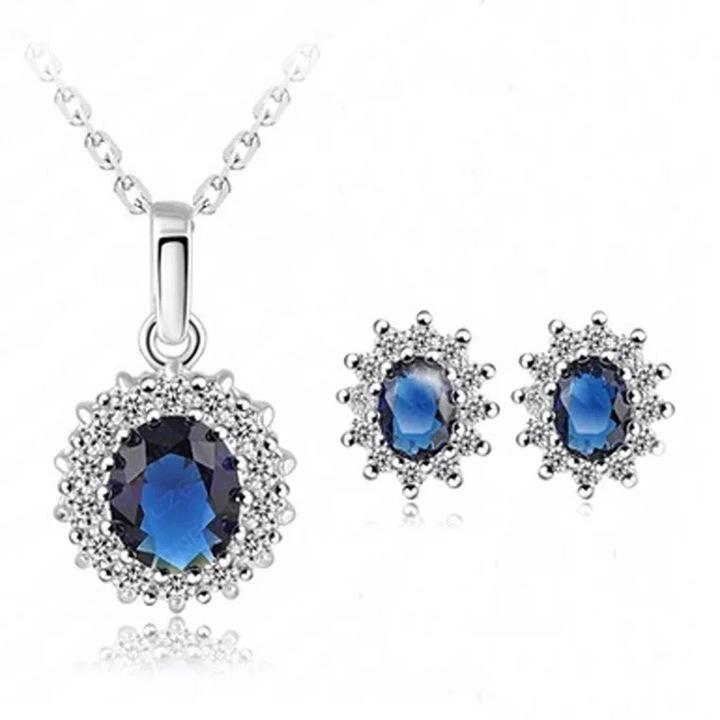 Floriane Woman Exquisite Sapphire Diamond Jewellery Set Earring Necklace Set II040 blue see information below