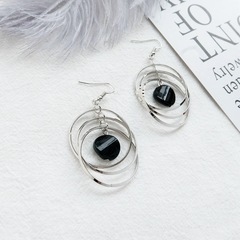 Floriane New Woman Exaggeration Long Black Crystal Eardrop Temperament Silver Earring I041 silivery see information below