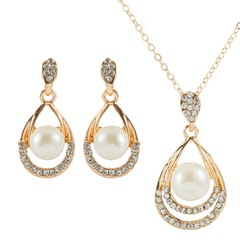 Floriane New Luxury Classical Shining Diamond Pear Golden Jewellery Set I044 golden one size