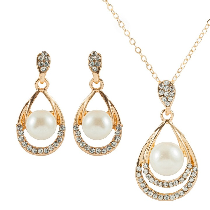 Floriane New Luxury Classical Shining Diamond Pear Golden Jewellery Set I044 golden one size
