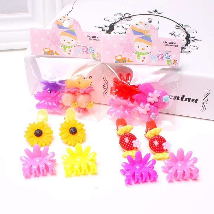 Floriane New 2 Set Children's Hair Clip Cute Cartoon Hair Catch Candy Color Random  I055 see picture see picture
