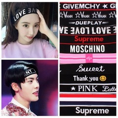 Floriane Men's And Woman's Fashion Letter Sweat Absorbent Sports Yoga Hair Band Three Style I058 3# one size