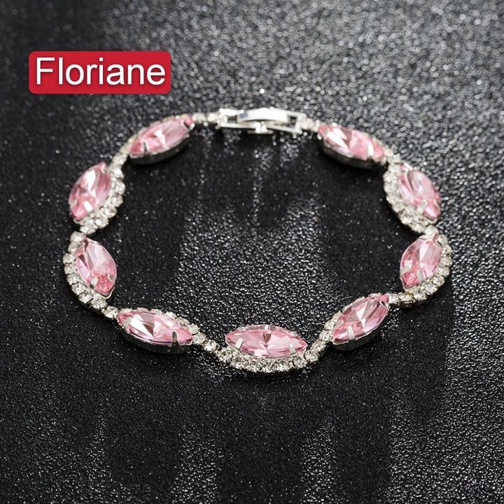"Floriane""Luxury series ""Dazzling Crystal Celebrity Dinner Party Temperament Pink Gem Bracelet I028 pink one size"