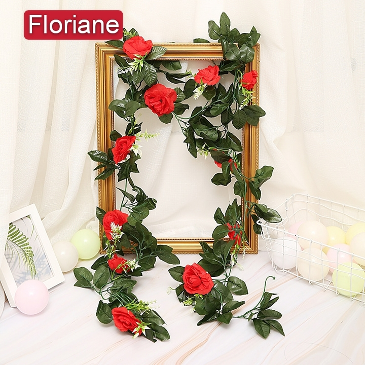 Floriane New High Simulation Flower Rose Home Three-dimensional decoration Two Color I057 red 245cm