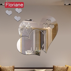 Floriane New Modern Heart Shape Silver Mirror Wall Sticker K004 silver one size