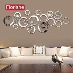 Floriane New Modern Multiple Circle Silver Mirror Wall Sticker K001 silver one size