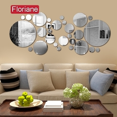 Floriane New Modern Multiple Disc Silver Mirror Wall Sticker K002 silver one size