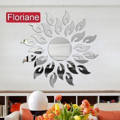 Floriane New Modern Sun Shape Silver Mirror Wall Sticker K003 silver one size