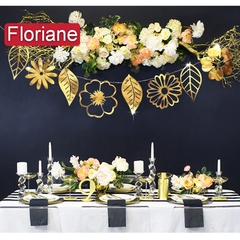 Floriane New 8Pcs Gold And Silver Flower Leaf Hang Home Decoration Wedding Party Wall Sticker K005 silver one size