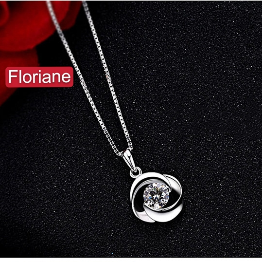 """Floriane New """"Fall In Love At First Sight"""" Exquisite Crystal Pair Silver Wave Necklace silivery adjustable size"""