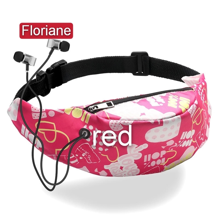 Floriane New Style All-Match Fashionable 3D Digital Printed 12 Colors Waist Bag Chest Bag red 60*45