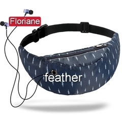 Floriane New Style All-Match Fashionable 3D Digital Printed 14 Colors Waist Bag Chest Bag feather 60*45