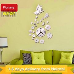 Floriane Wall Clock Wall stickers Home Decor DIY Flower Butterfly Mirror Wallpaper 35*60cm silver see information