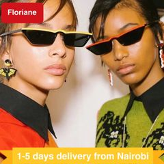 Floriane Cat Eye Sunglasses For Women Brand Designer Metal Reflective Sun Glasses Female red one size