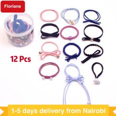 Floriane 12 Pcs/Box Hairbands Rubber Bands Headband Color High Quality Girls Ladies Women Hair Rope mixed color 3cm-5cm