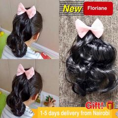 Floriane Girl Wigs Girl Hair Accessories Curly Wig Headband Rubber Bands Hair Bands Headwear 1Pcs Pink Butterfly