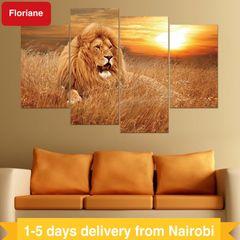 Floriane Wall Stickers Art Home Decor Waterproof Removable Sunset Lion Canvas Painting PVC Wallpaper Golden Lion 29*50cm*2pcs+29*70cm*2pcs