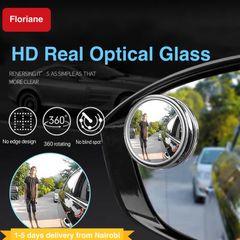 Floriane 2PCS Blind Spot Mirror HD Glass Convex Lens Frameless 360 Rotating Waterproof Car Mirror Silvery 2pcs*5.2cm(d)