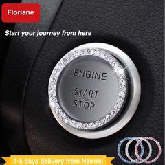 Floriane Car Decor Dimond Stickers For Auto Start Engine Ignition Button Key Knobs Gift Women Men Silvery 1pc