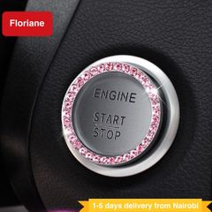 Floriane Car Decor Dimond Stickers For Auto Start Engine Ignition Button Key Knobs Gift Women Men Pink 1pc