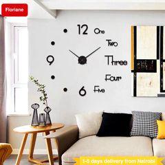 Floriane Wall Clock Stickers DIY Home Decor Clocks Office Hotel Bedroom Mirror Wallpaper 41*45cm black see information