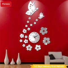 Floriane Wall Clock Wall Stickers Home Decor DIY Flower Butterfly Mirror Wallpaper 75*45cm Clocks silver see information