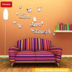 Floriane Wall Stickers DIY Home Decor 3D Live Love Laugh Removable Decals Mirror Stickers 63*36cm silver see information
