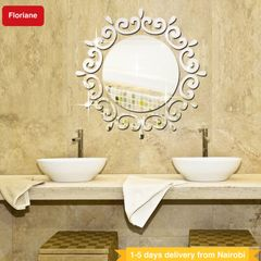 Floriane DIY Home Decor Washroom Waterproof Removable Decal Round Large Mirror Wall Sticker 40*20cm silver see information
