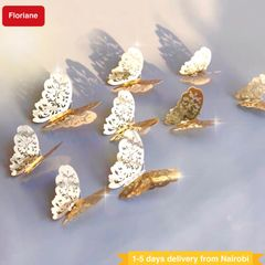 Floriane Home Waterproof Wall Stickers 12Pcs Gold Hollow-Out 3D Sticker Mirror Butterfly Wallpaper golden one size