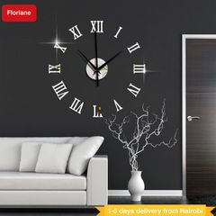 Floriane Wall Clock Wall Sticker DIY Home Decor Modern Roman Clocks Bedroom Mirror Wallpaper 46*46cm silver see information