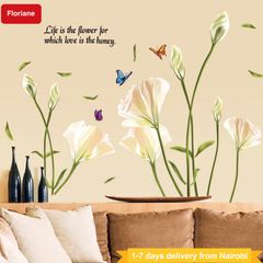 Floriane Wall Stickers Waterproof Wallpaper Wall Decor Art Removable DIY Lily Rose Two Style lily flower 60×90cm