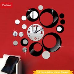 Floriane Wall Clock Round Shape Modern Home Decor DIY Stickers Living Room Bedroom Mirror Clock black see information