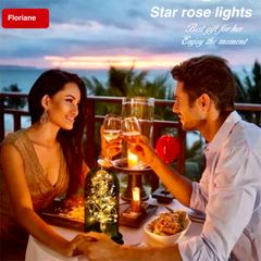 Floriane LED Ring Lights Torch lights String Light Home Decorative Table Lamp Night Rose Lighting RED 11(l)*20(h)cm aaa battery (not included))