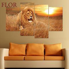 Floriane 4Pcs PVC Wall Stickers Art Home Decor Waterproof Sunset Lion Canvas Painting Wallpaper Golden Lion 29*50cm*2pcs+29*70cm*2pcs